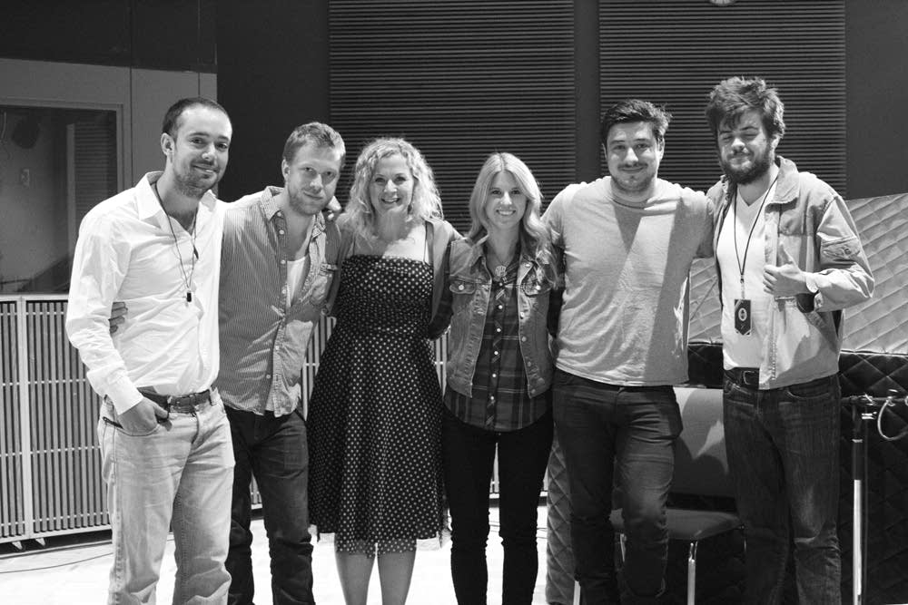 Mumford & Sons with Xcel staff