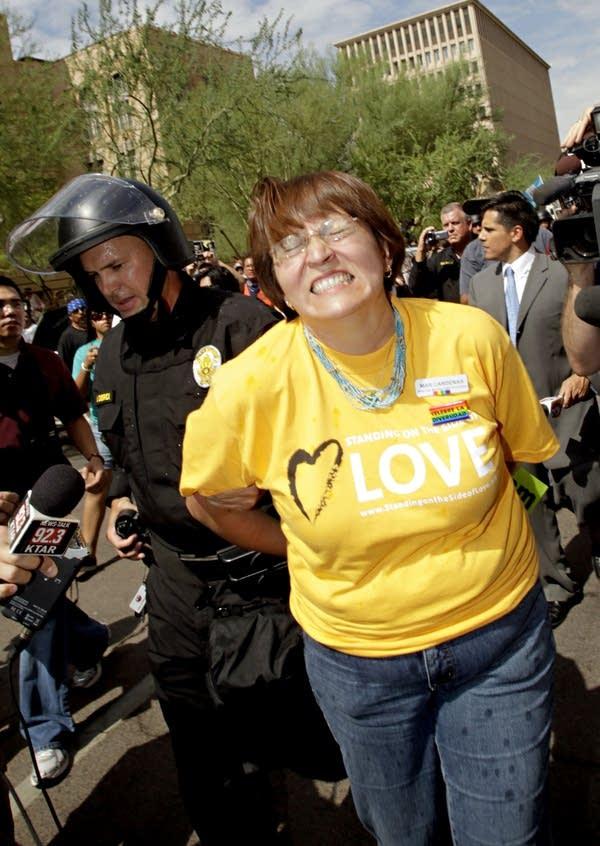 Arrested protester