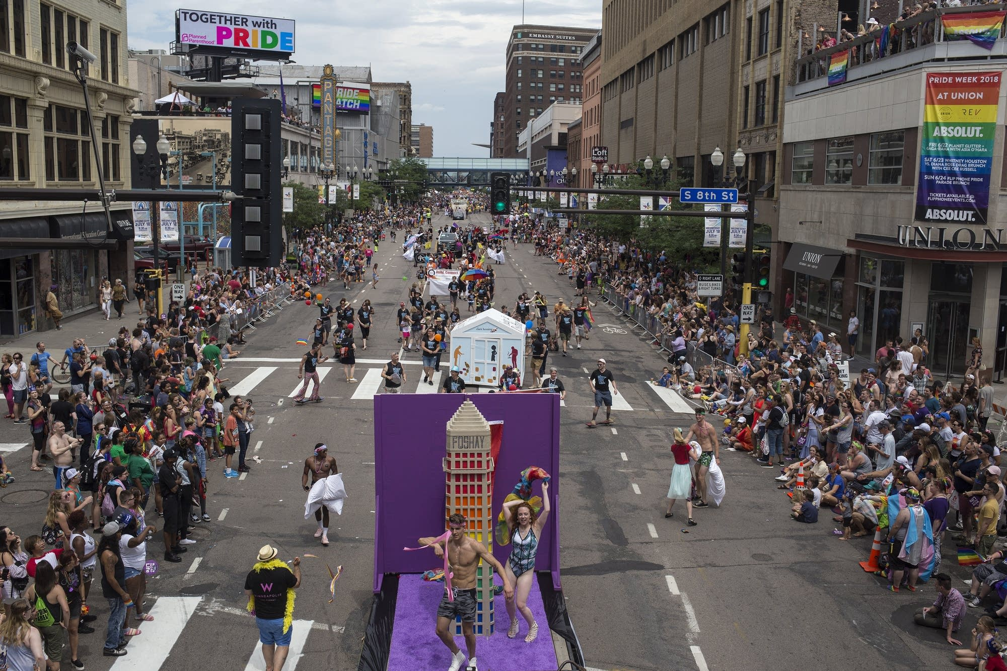 Thousands of attendees watch the 2018 Twin Cities Pride parade.