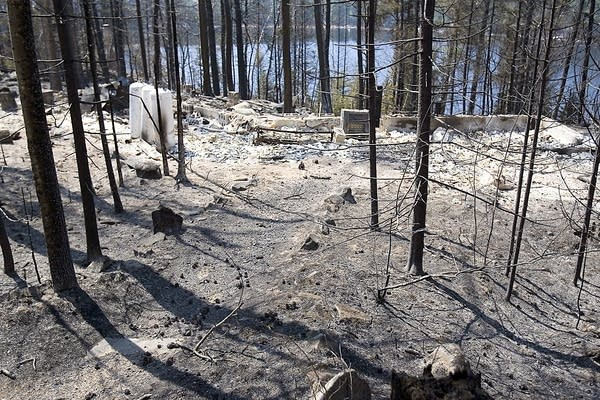 The remains of a destroyed dwelling consumed by the Ham Lake Fire in 2007.