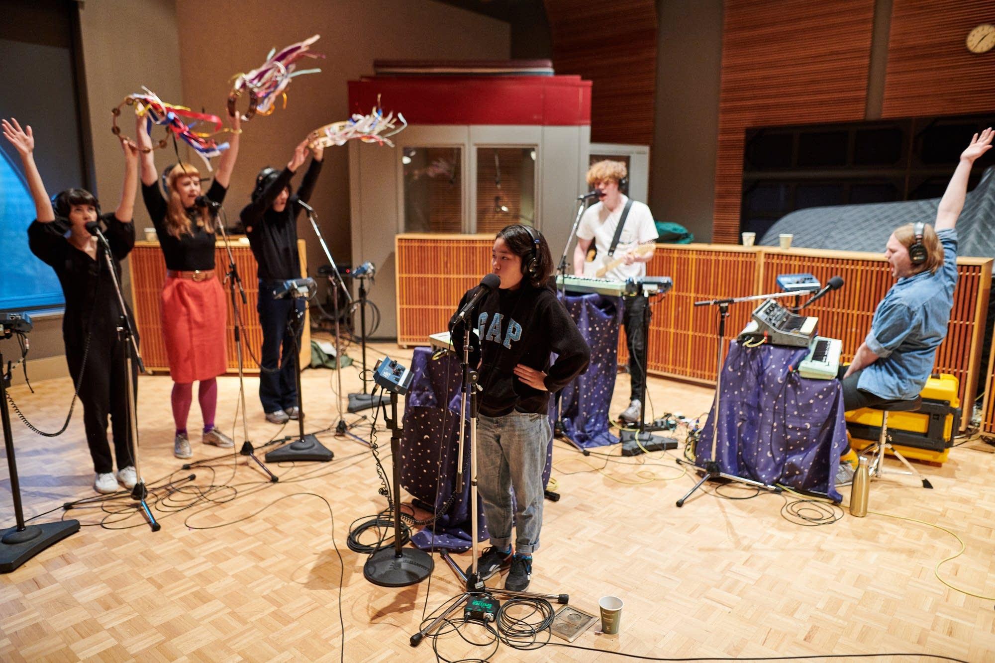 Superorganism perform in The Current studio