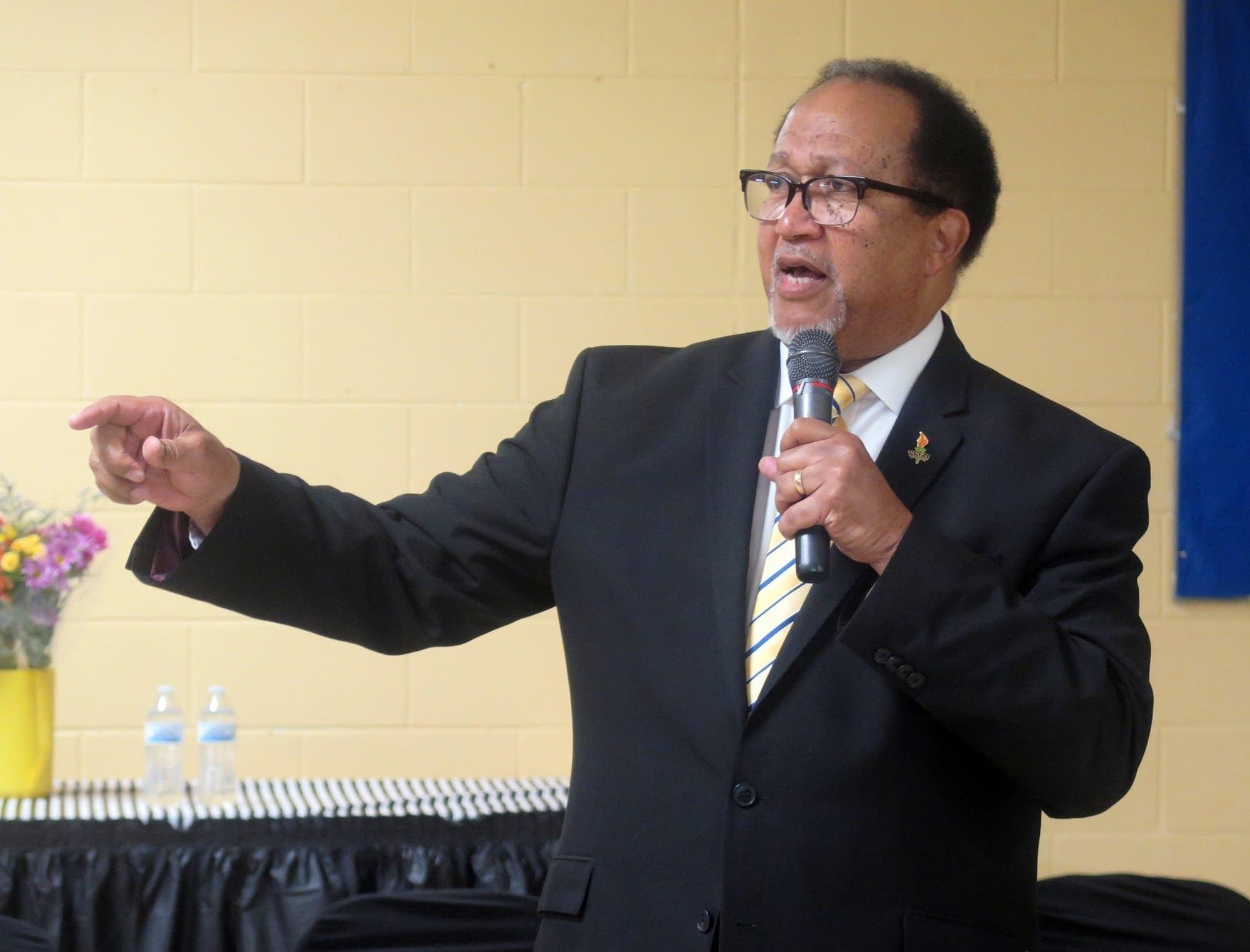 Ben Chavis, longtime civil rights activist, spoke at New Salem Baptist.