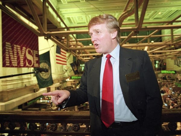 Donald Trump at the NY stock exchange in 1995
