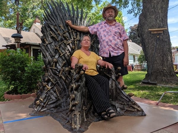 Gail and Ken Janes of Richfield, Minn. won a replica of the Iron Throne.