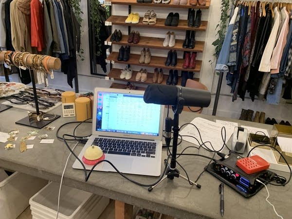 Luke's quarantine recording set-up in his sister's closed store.