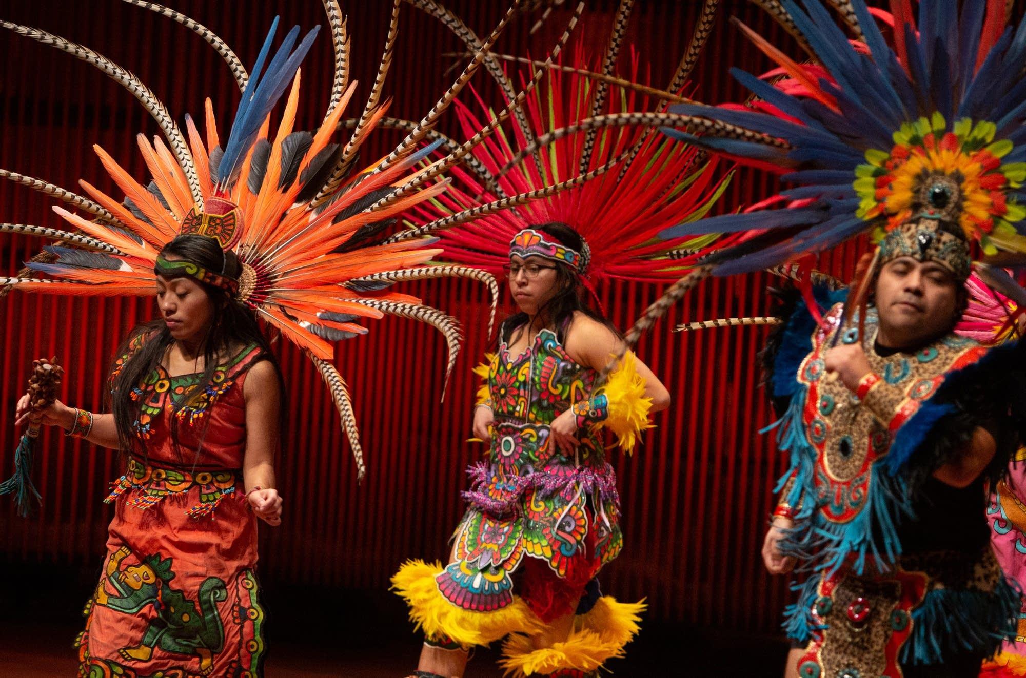 Dancers from the group, Kalpulli Yaocenoxtli, perform.