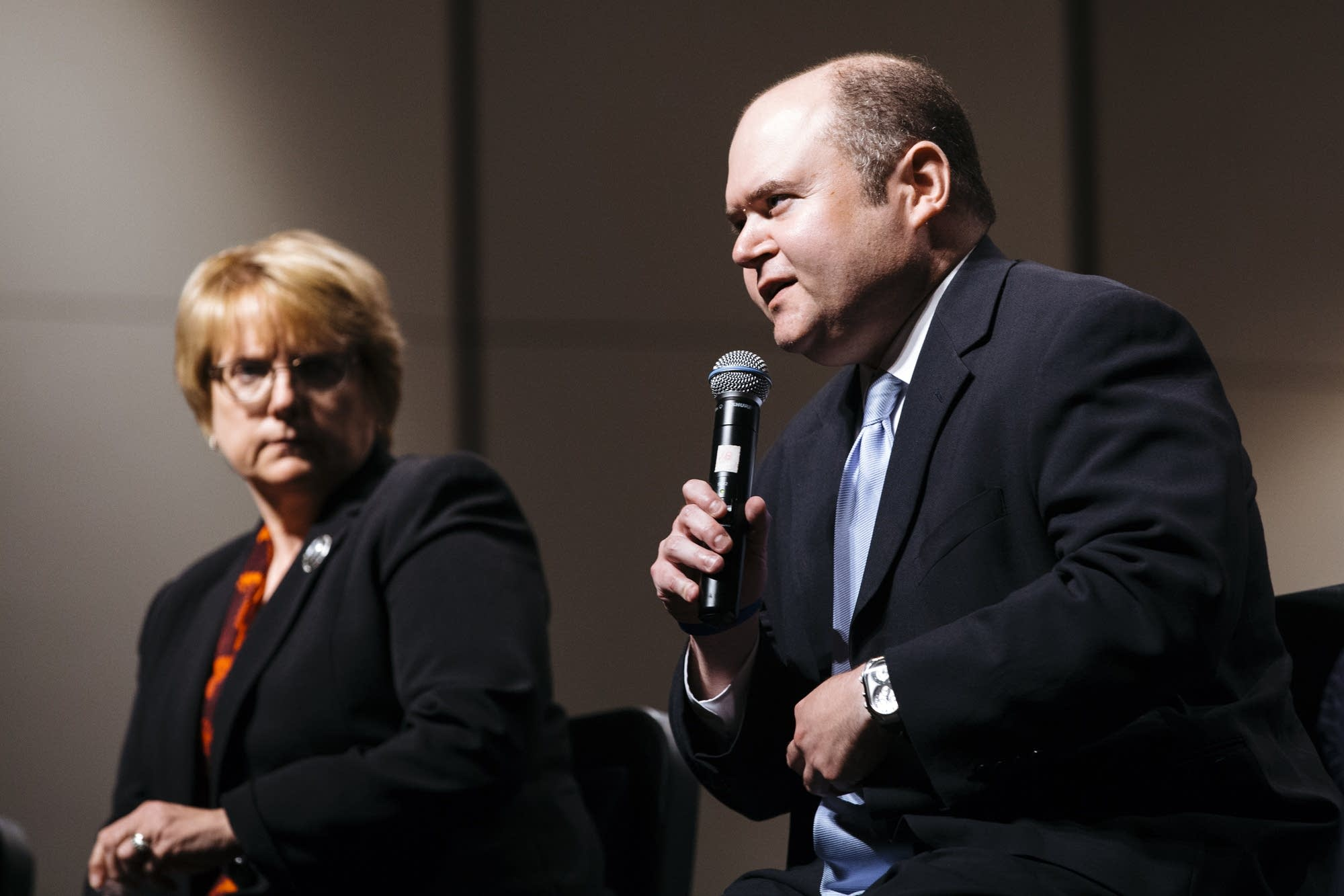 David Stras responds to a student's question.