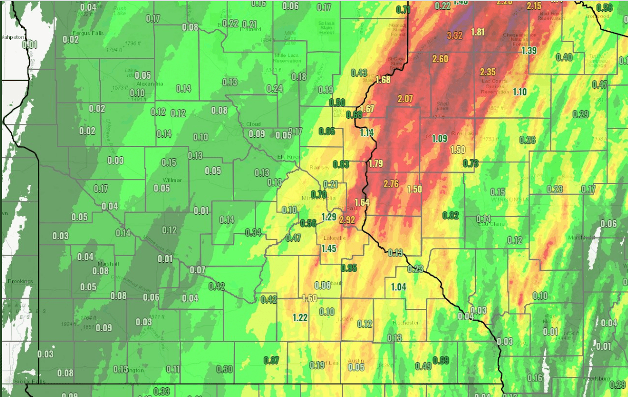 Rainfall totals Tuesday night