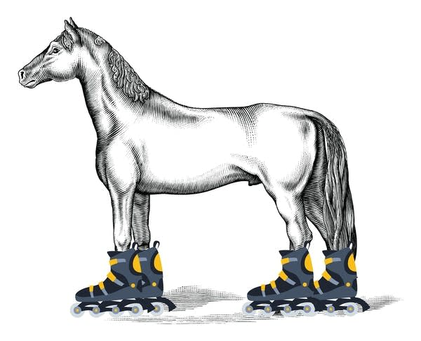 A pencil-style drawing of a horse with Rollerblades Photoshopped onto it