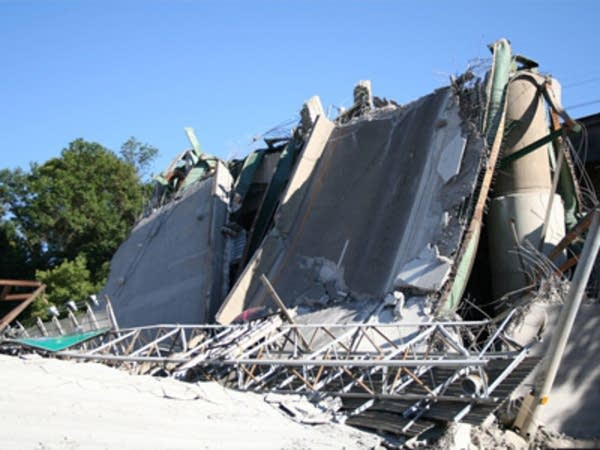 Wreckage of the collapsed bridge