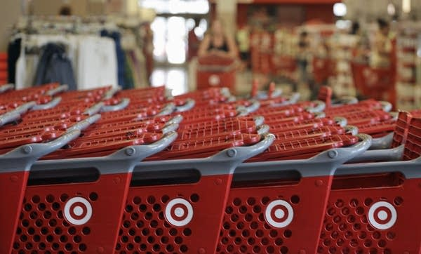 Rows of Target carts