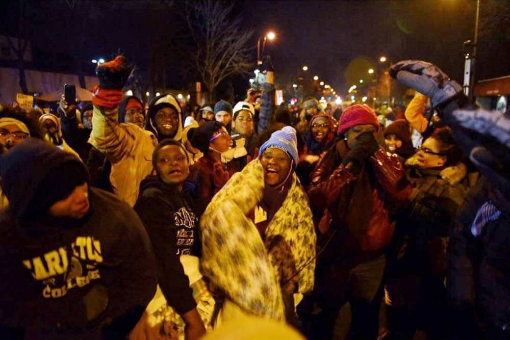 Protesters danced in the cold.