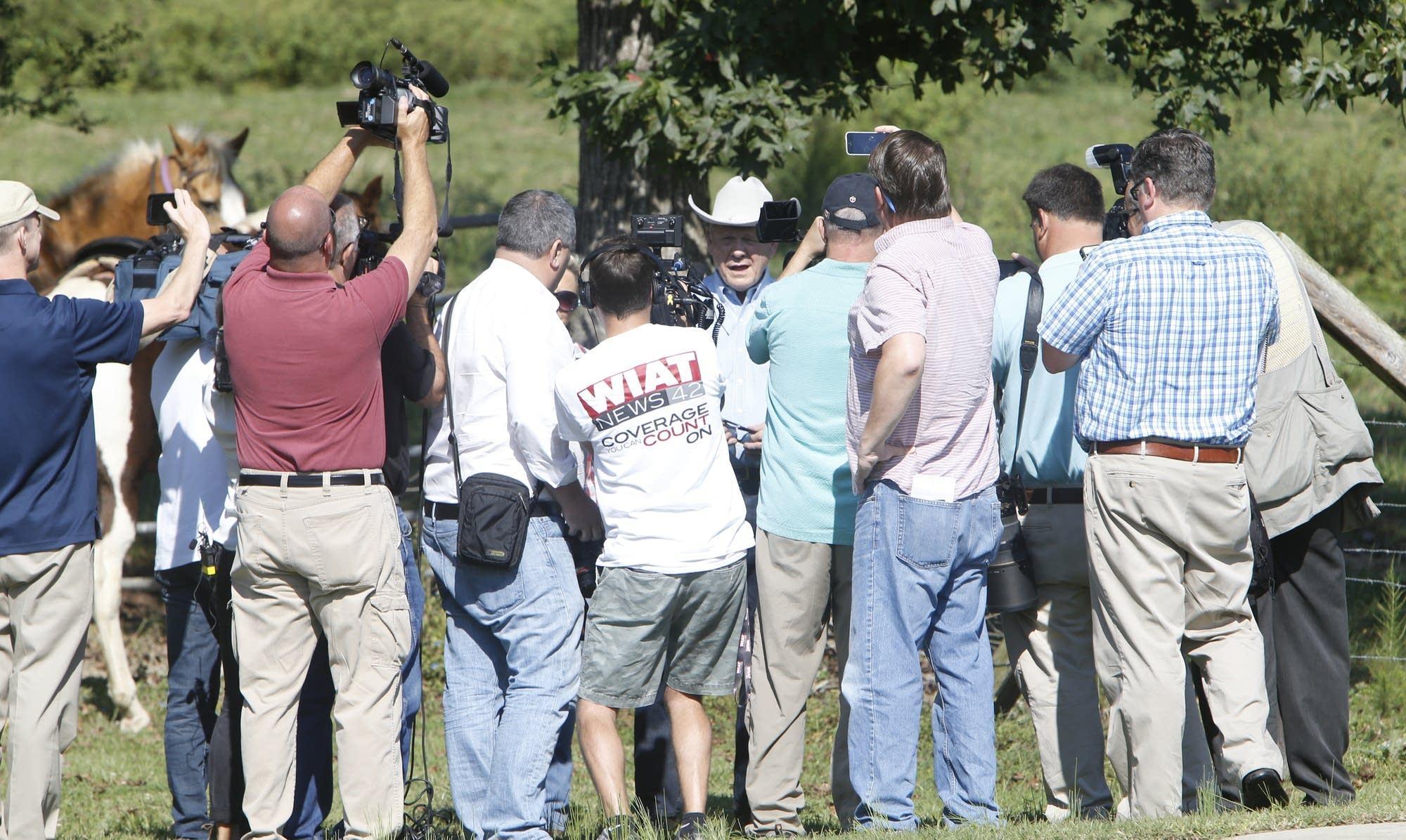 Alabama Republican U.S. Senate candidate Roy Moore talks to the media.