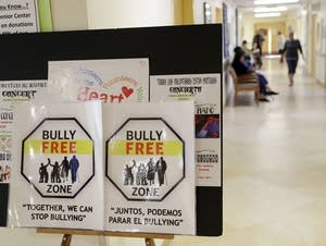 Signs promote a bully-free environment at a senior center in San Francisco