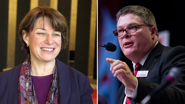 U.S. Sen. Amy Klobuchar and her opponent Rep. Jim Newberger.