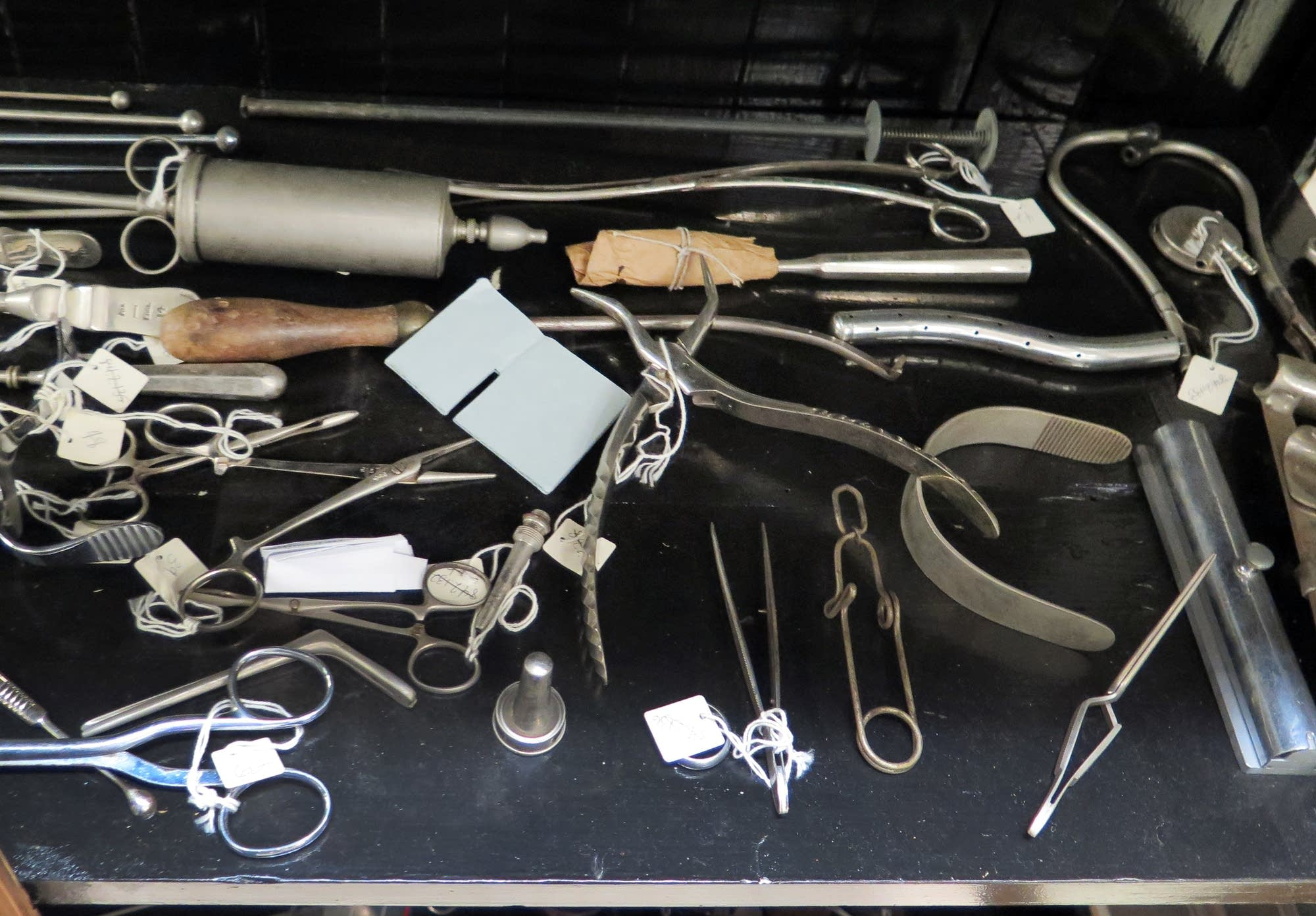 A collection of historic medical devices at the Wangensteen Library.