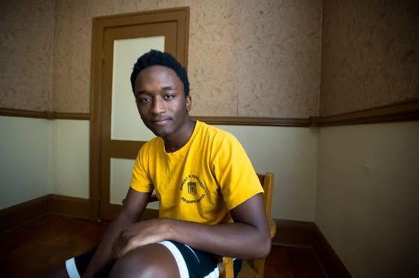 Lamin Ceesay, 22, in his home in Minneapolis.