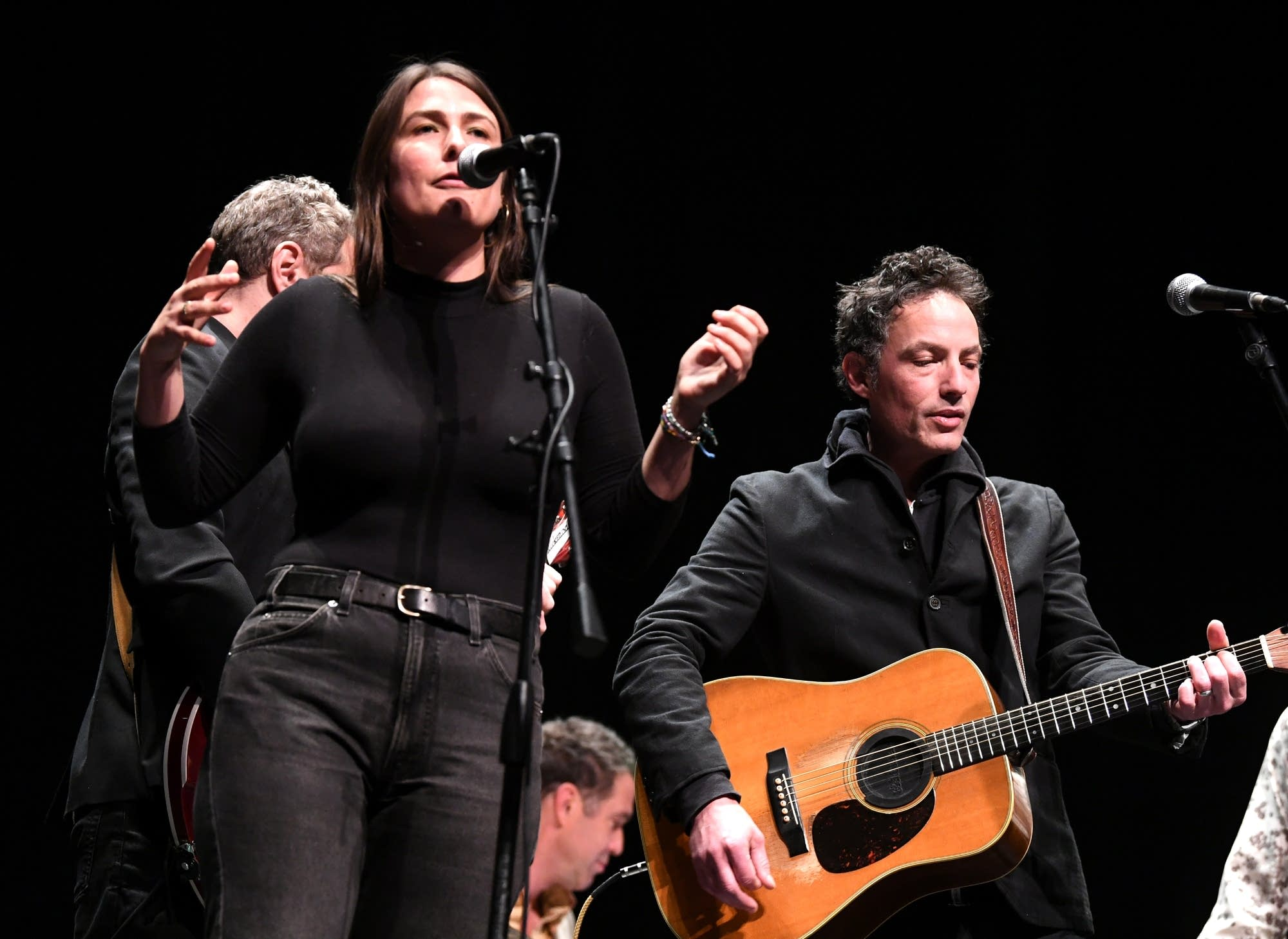 Jade Castrinos and Jakob Dylan performing onstage