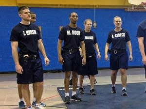 Mohamed Noor, third from left, in a class of Minneapolis police cadets.