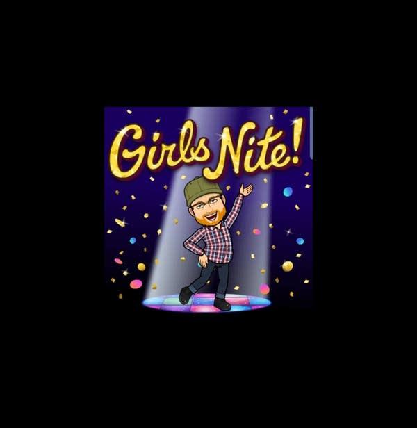 Andrew's bitmoji enjoys a girls night out