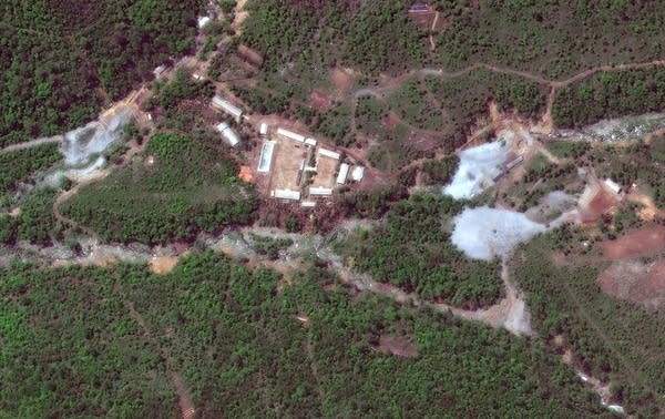 A satellite photo of the Punggye-ri nuclear test site in North Korea.