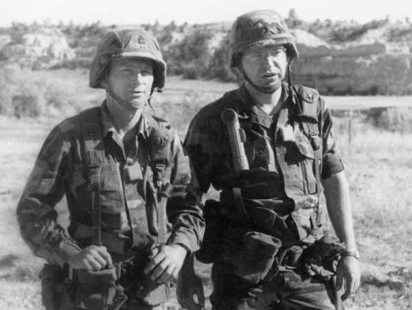 Tim Walz, right, and Gary Bloomberg at Camp Guernsey, 1992.