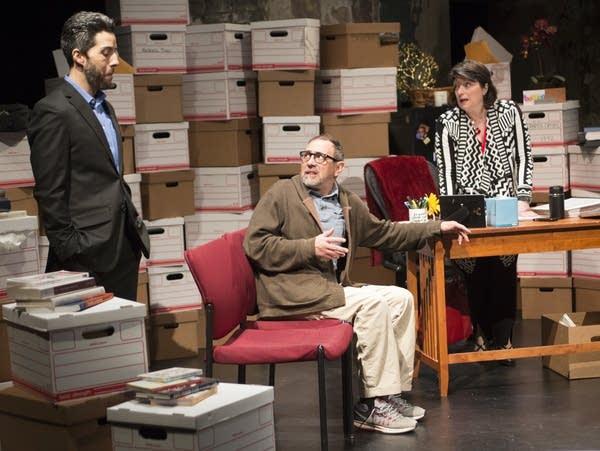 James Rodriguez, Dario Tanglelson and Jodi Kellog rehearse a scene.