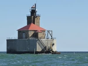Port Austin Reef Lighthouse, seen in Lake Huron from Michigan.