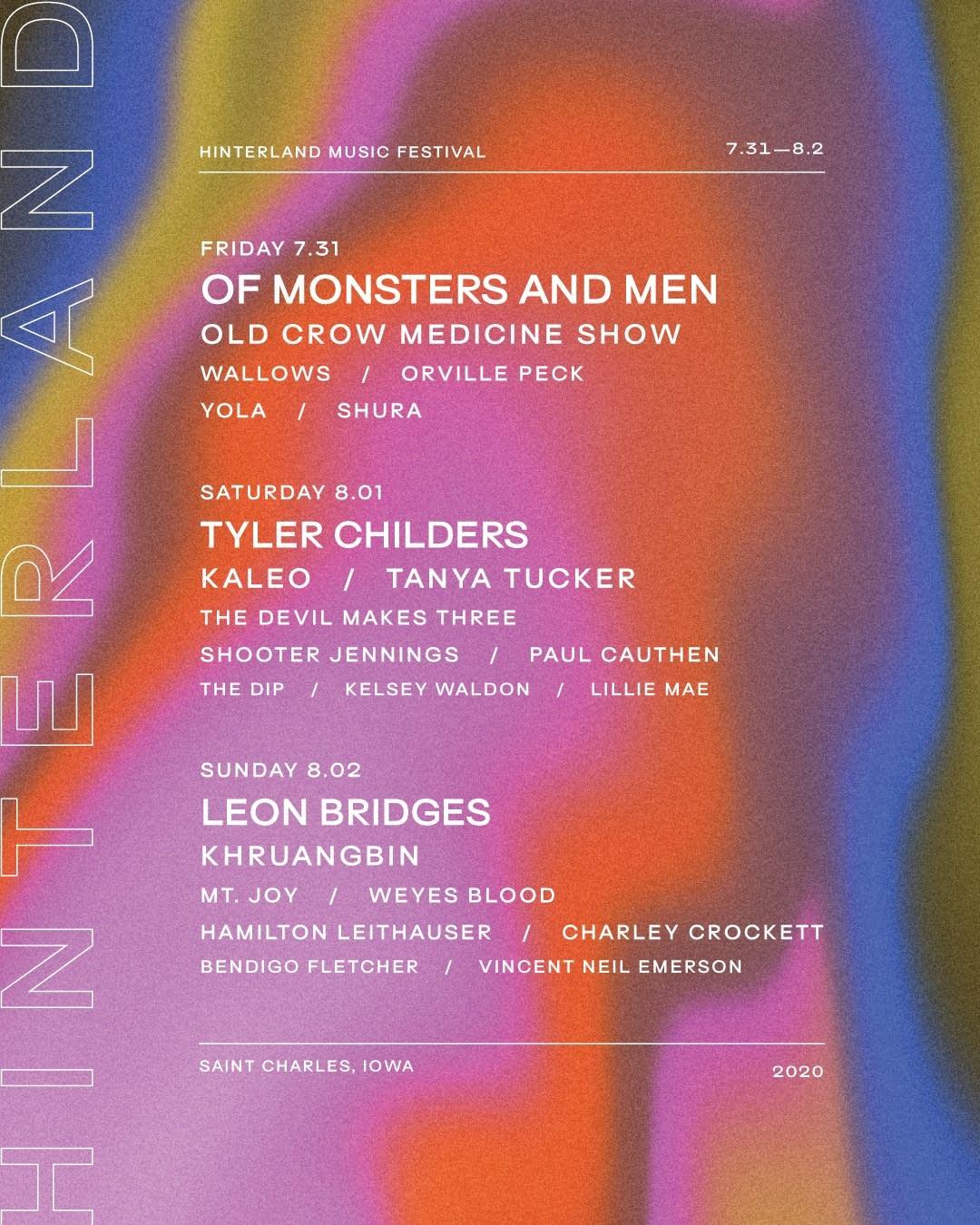 Hinterland Music Festival lineup 2020.
