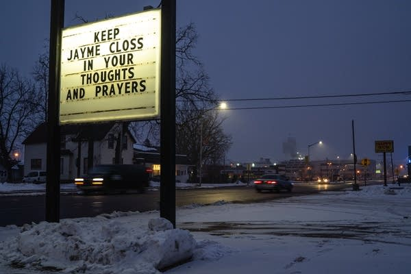 A sign on a local business reminds residents about Jayme Closs.