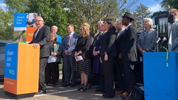 Gov. Tim Walz announces a proposal for clean cars in Minnesota.