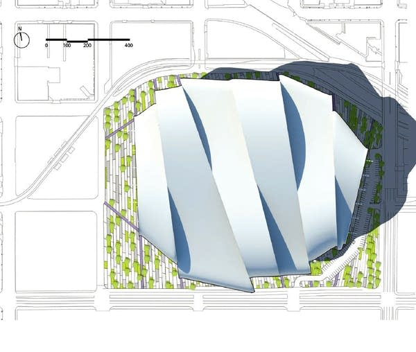 One preliminary image from the winning bid by HKS Architects