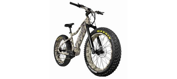 """Large, camo-colored e-Bike with huge tires called """"Rambo Rebel"""""""