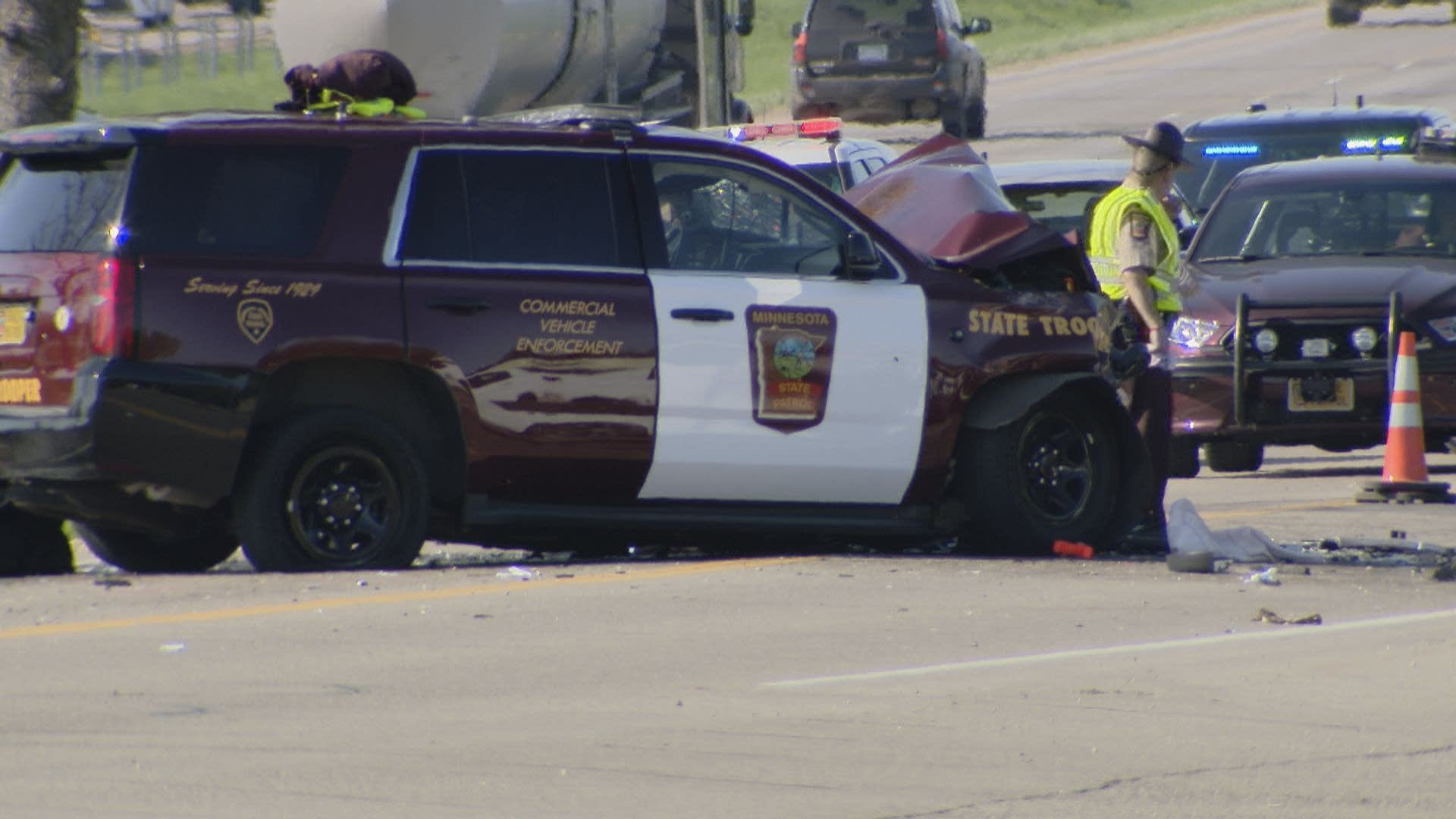 A trooper was seriously injured in a two-vehicle crash in Lakeville.