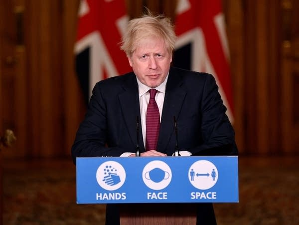 British Prime Minister Boris Johnson speaks during a press conference