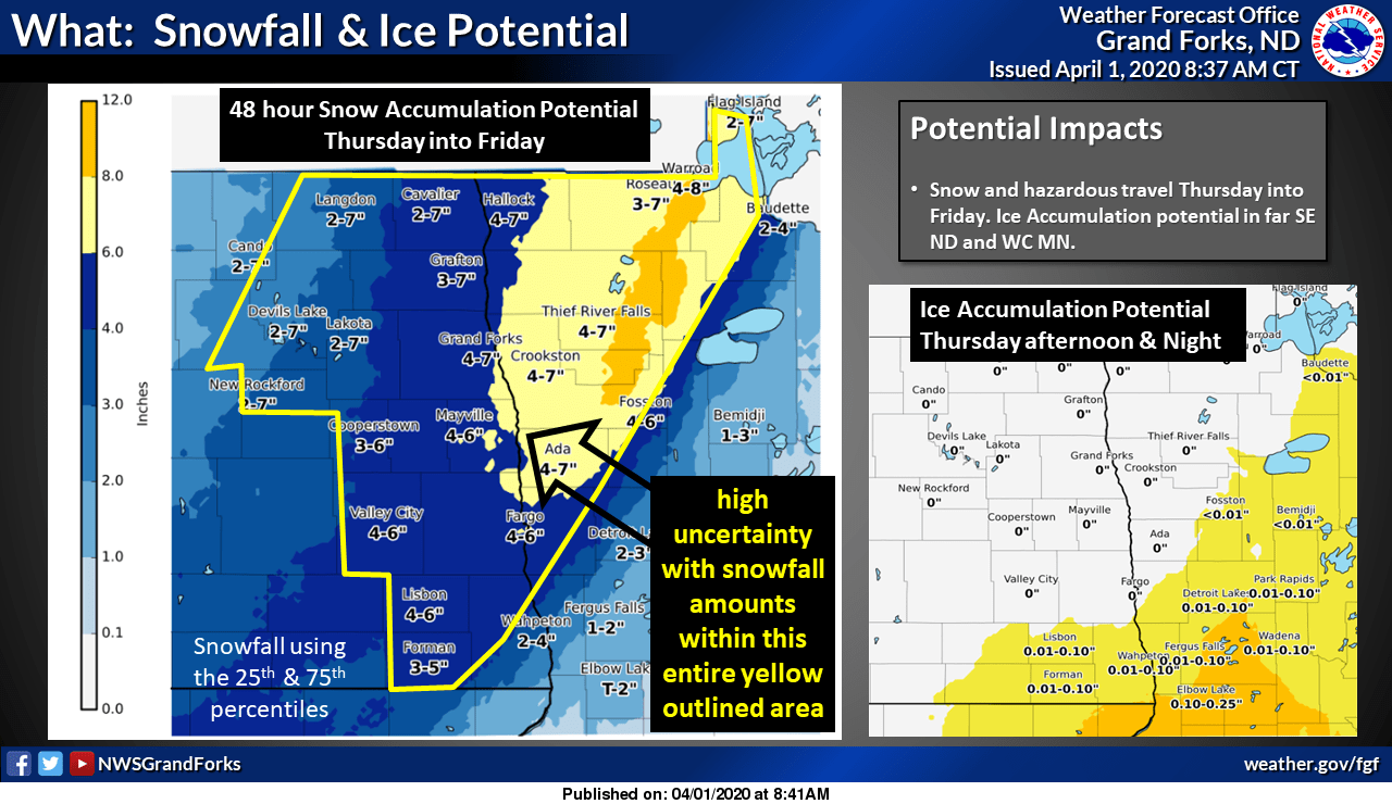Snow and ice accumulations