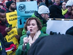 Minneapolis Mayor Betsy Hodges speaks at an anti-Trump protest