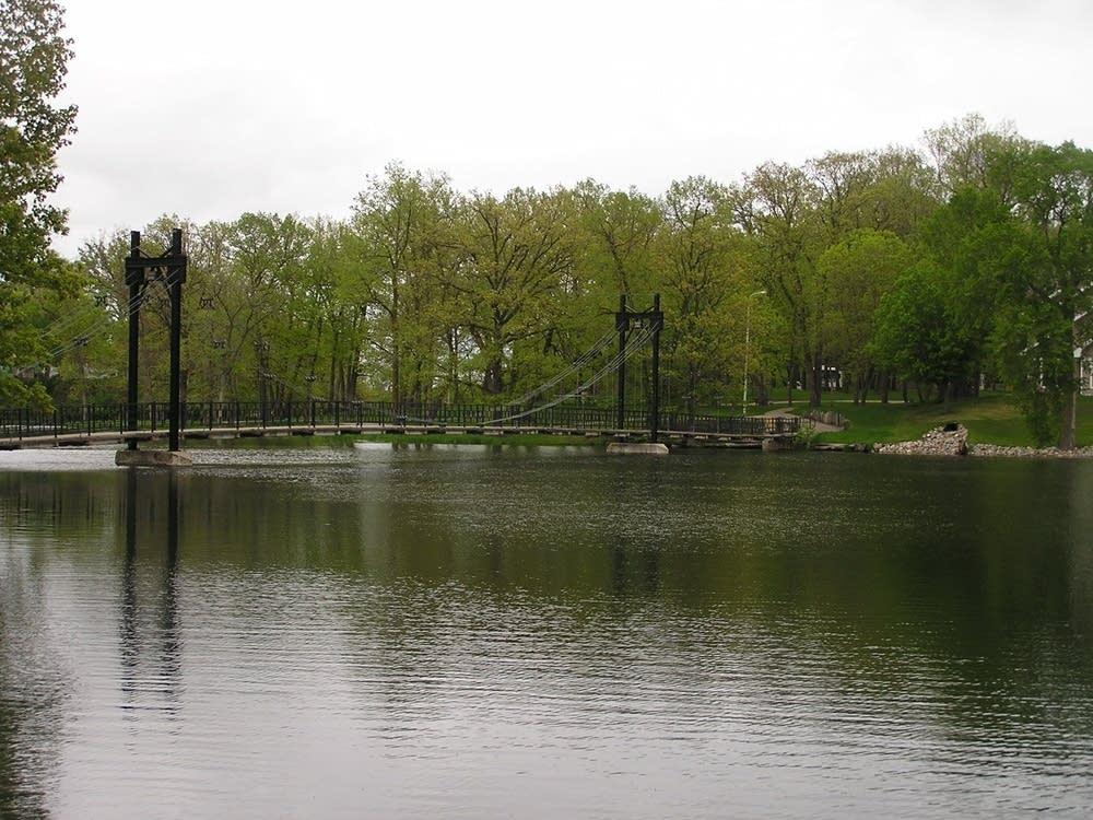 The suspension bridge in Pelican Rapids