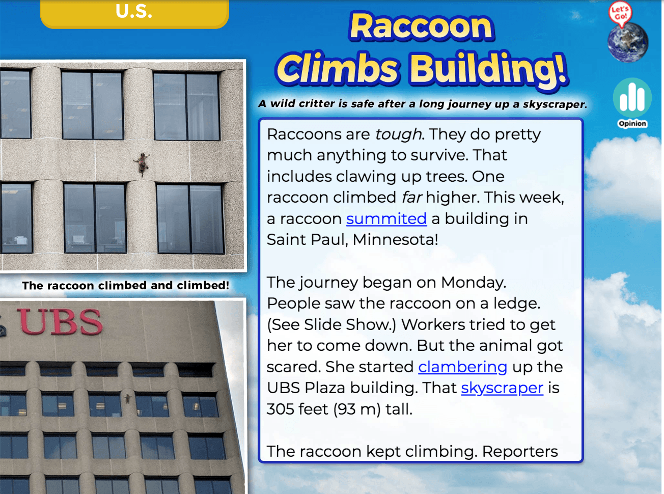 A screenshot from the News-O-Matic app