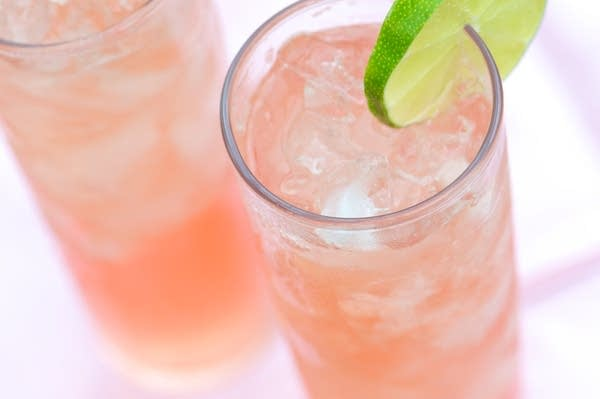 Two Icy Rhubarb Cocktails from Above - stock photo