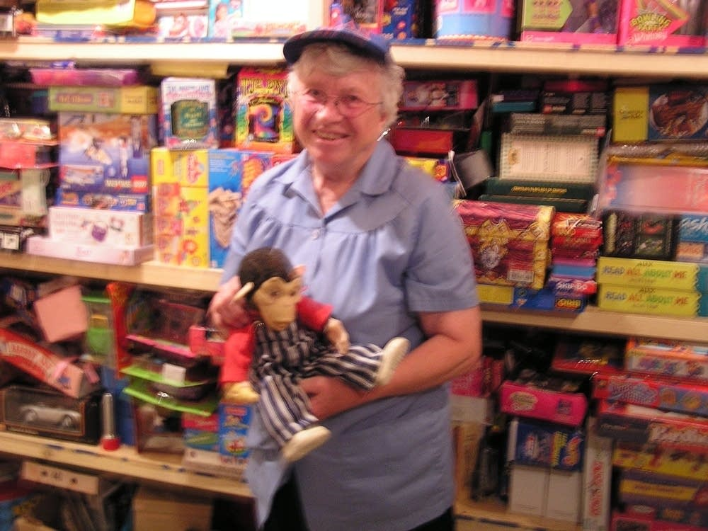 Sister Jean Thuerauf with toys