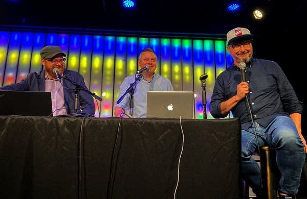 Andrew, Luke and John Hodgman on stage at Littlefield in Brooklyn