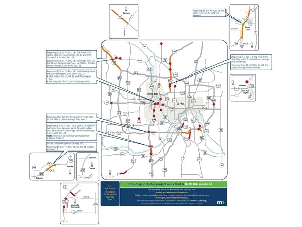 Freeway, ramp closures will affect Twin Cities traffic this weekend, next week
