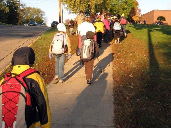 Students walk to school