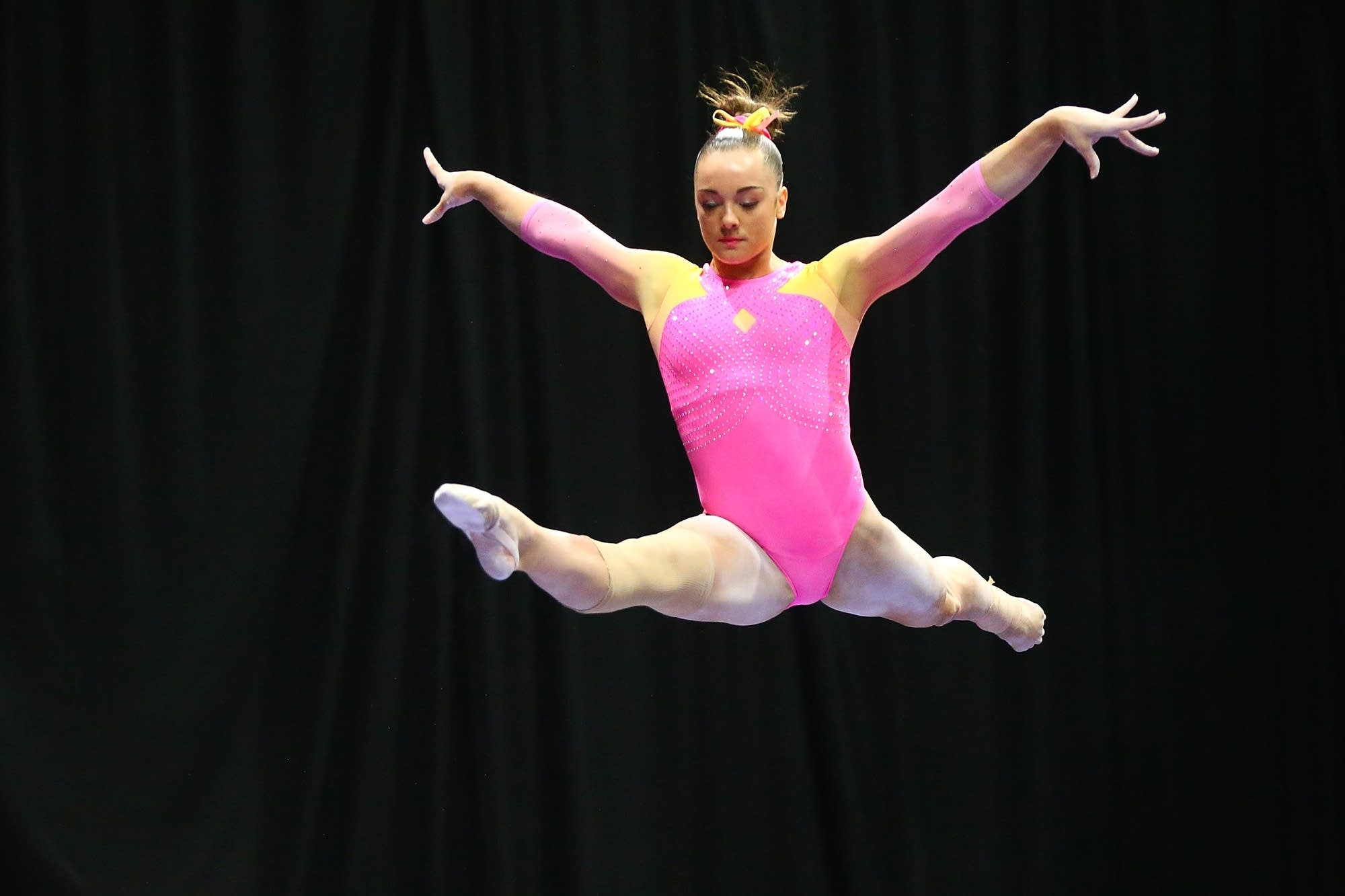 Maggie Nichols competes on the balance beam in 2016.
