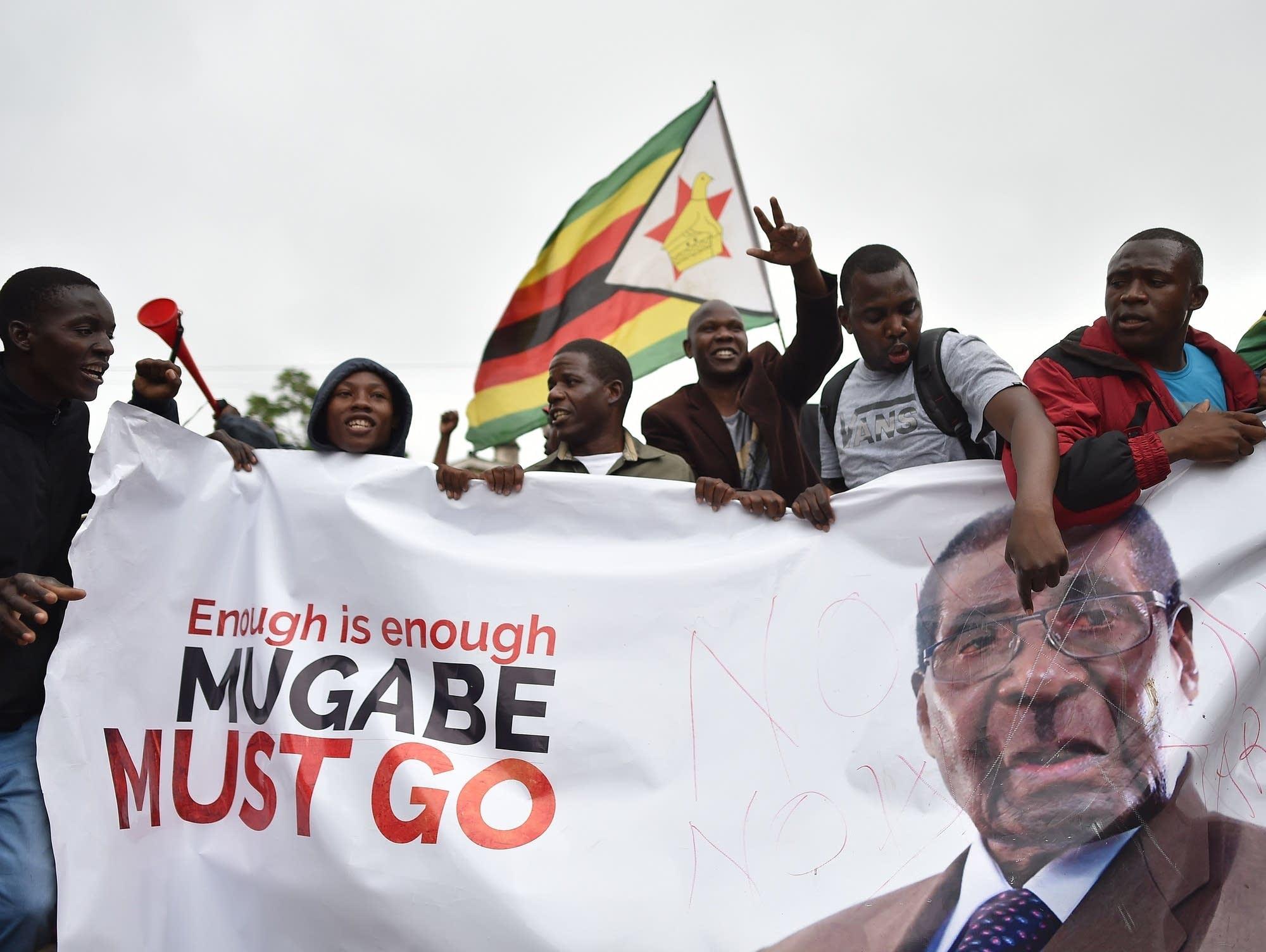 A demonstration demanding the resignation of Zimbabwe's president.