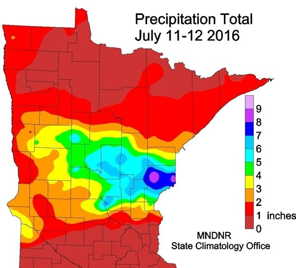 July 11, 2016 rainfall