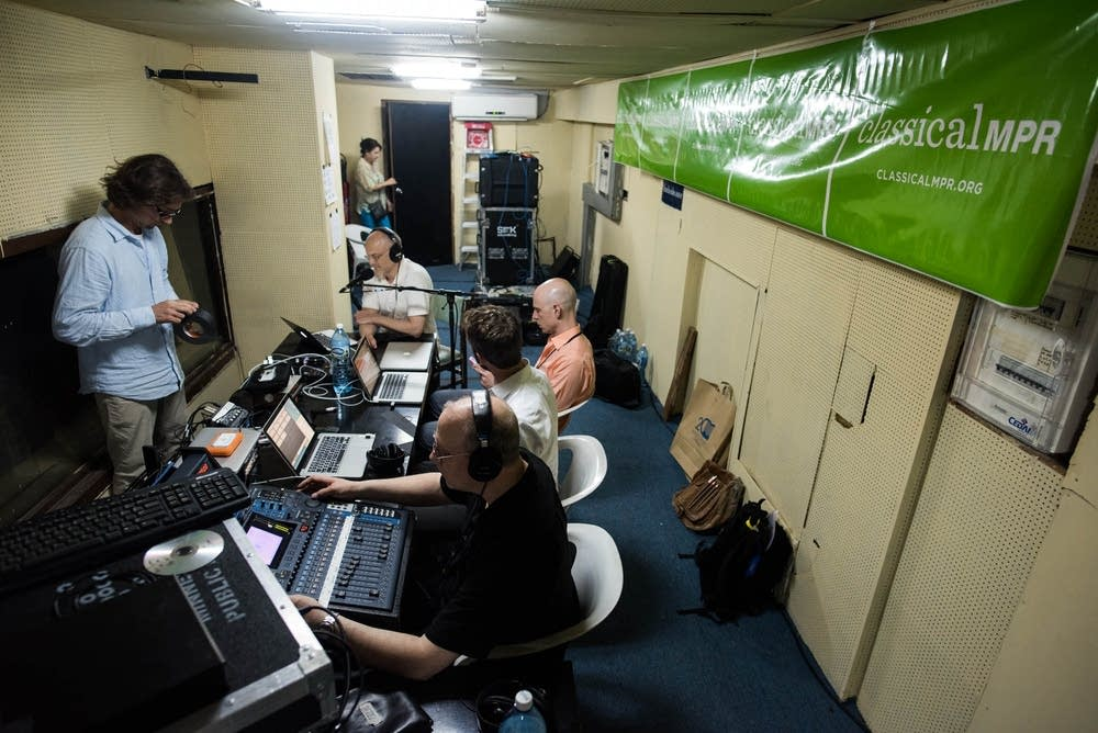 Inside the broadcast booth at the Teatro Nacional