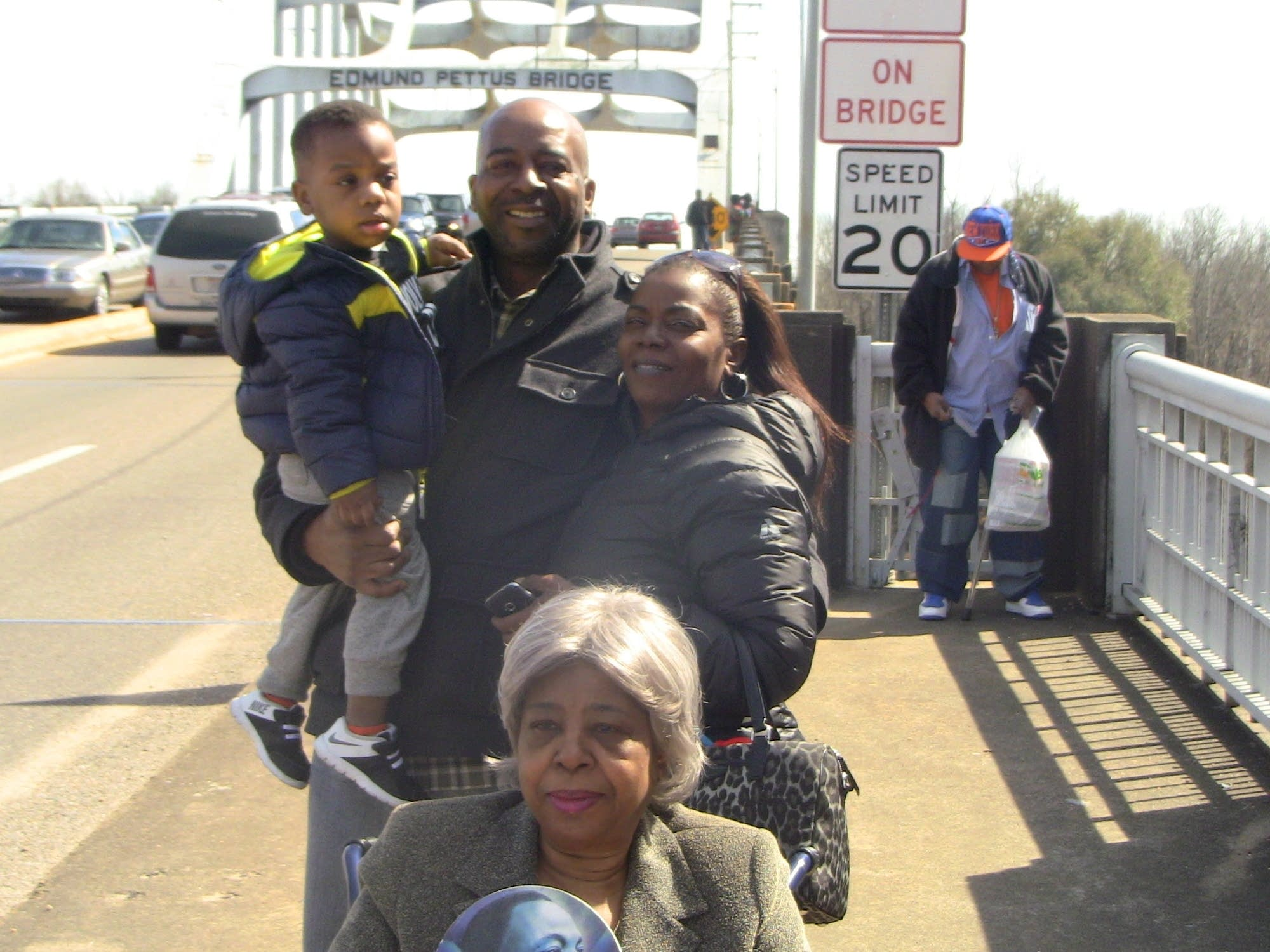 Derrick Stevens with his family in Selma, Ala.