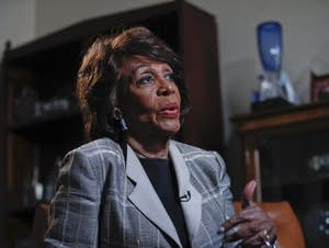 Rep. Maxine Waters, D-Calif., as she speaks during her interview